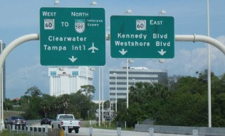 Clearwater and Kennedy Blvd. Highway Signage